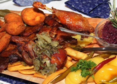 Large variety of Hungarian food in a peasant way